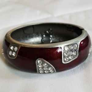 Red and Diamonds Bangle Bracelet